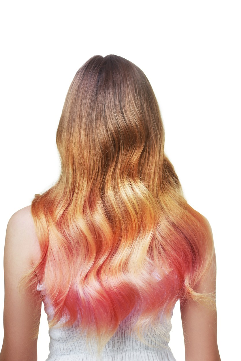 spring hair color: pink and orange