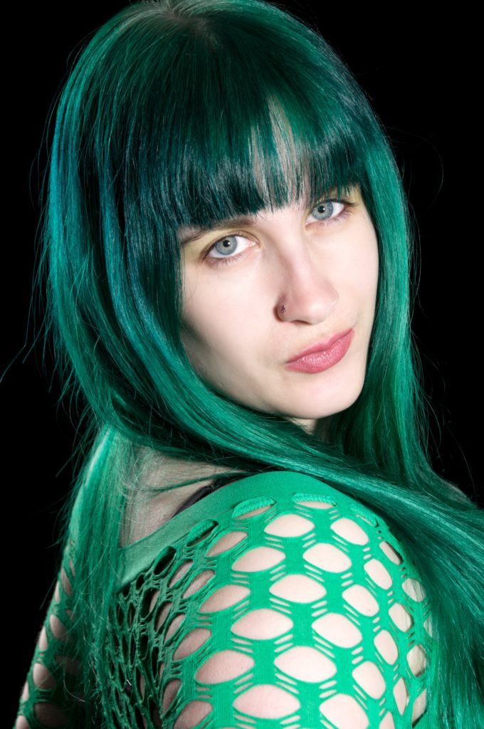 emo bangs mermaid blue green hair