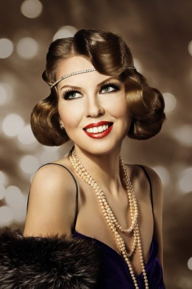 flapper hairstyles for long hair: faux bob finger waves