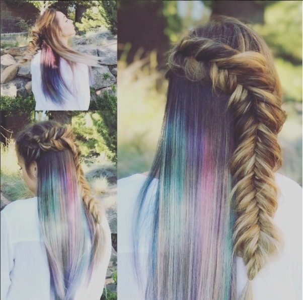 rainbow roots on brown hair