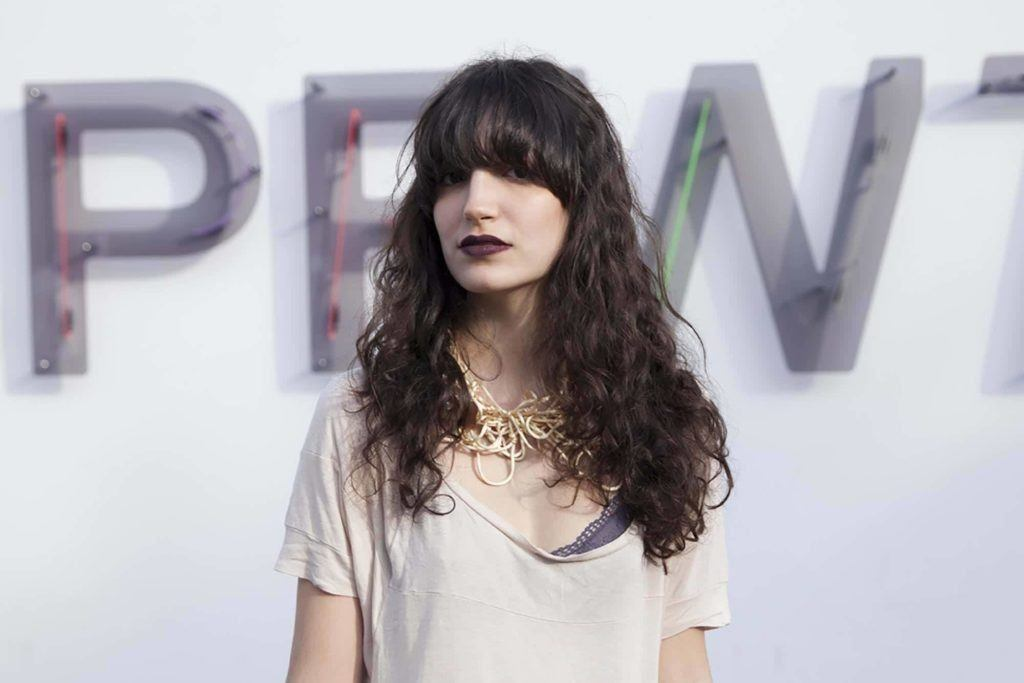 wavy hair with bangs: extra long bangs