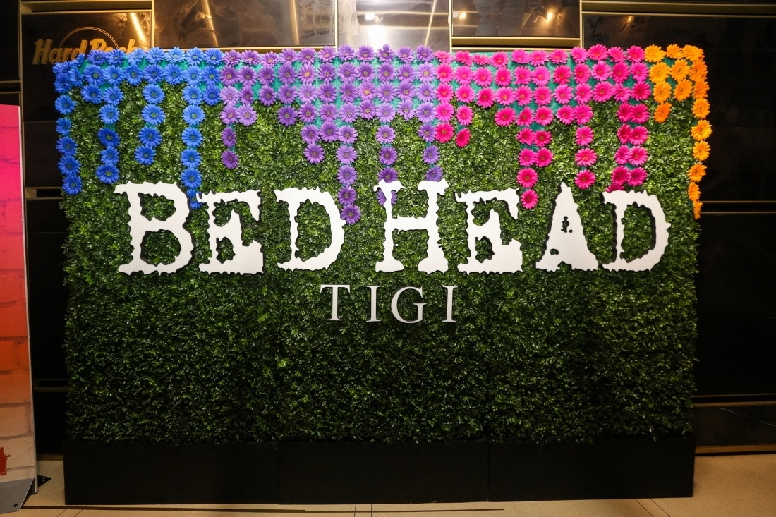 Floral banner at the Bed Head hotel event