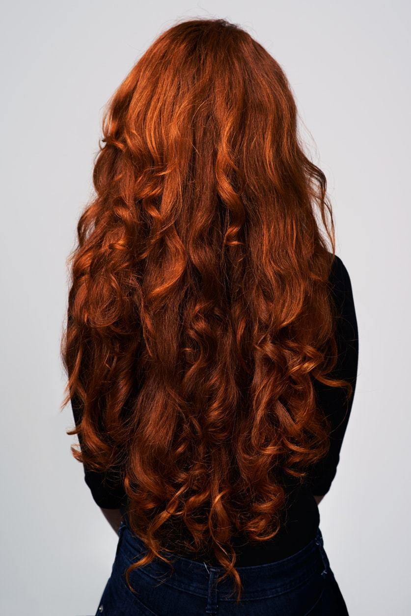 hair thickening spray long red curls