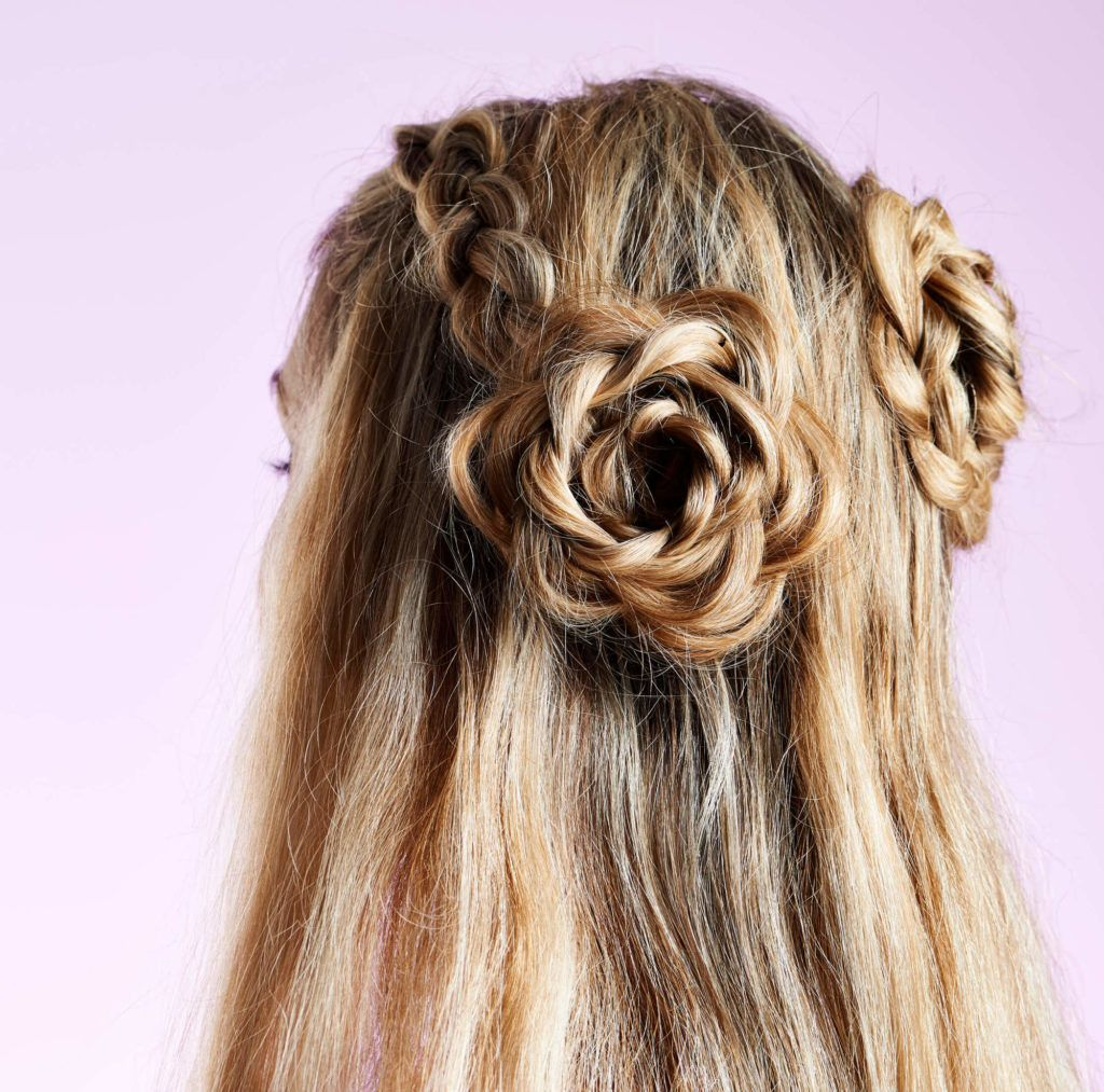 dutch flower buns half braided hairstyles