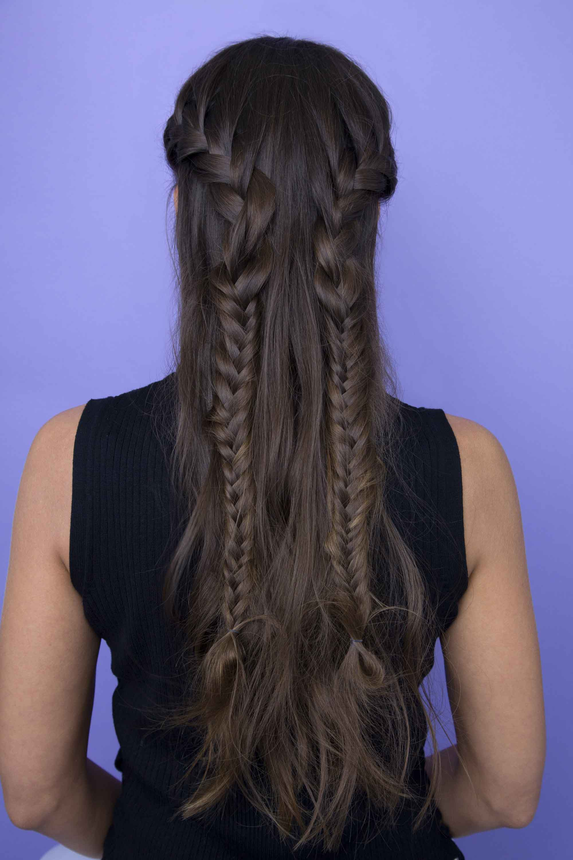 french pigtails half braided hairstyles