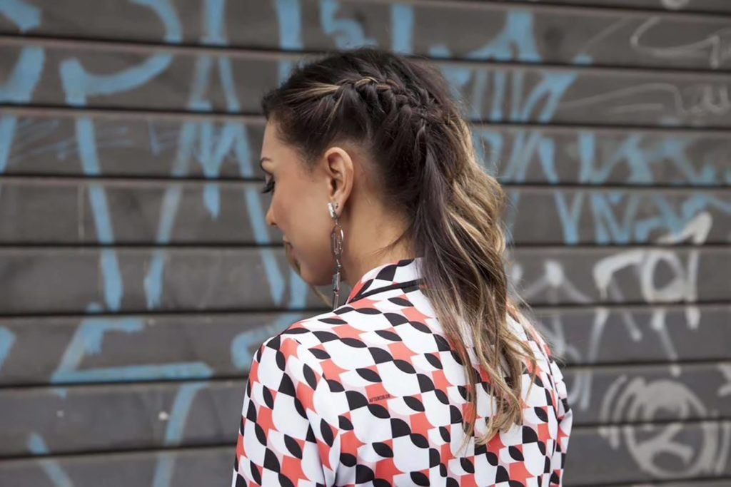 faux side shave half braided hairstyles