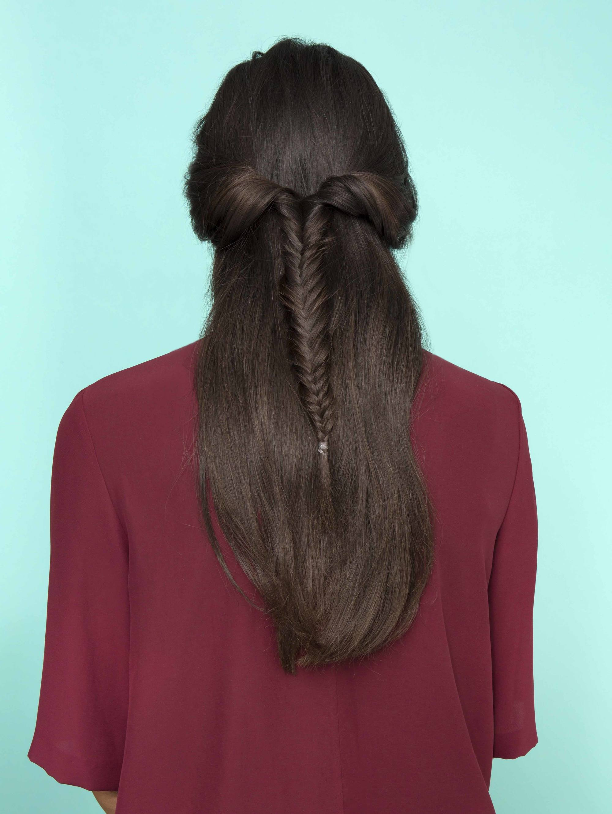 twisted fishtail half braided hairstyles