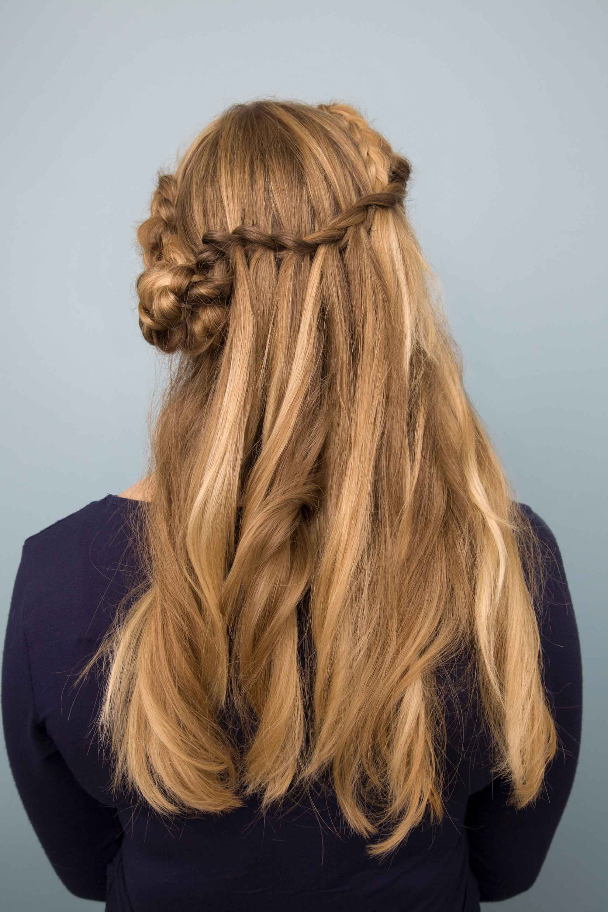 waterfall bun half braided hairstyles