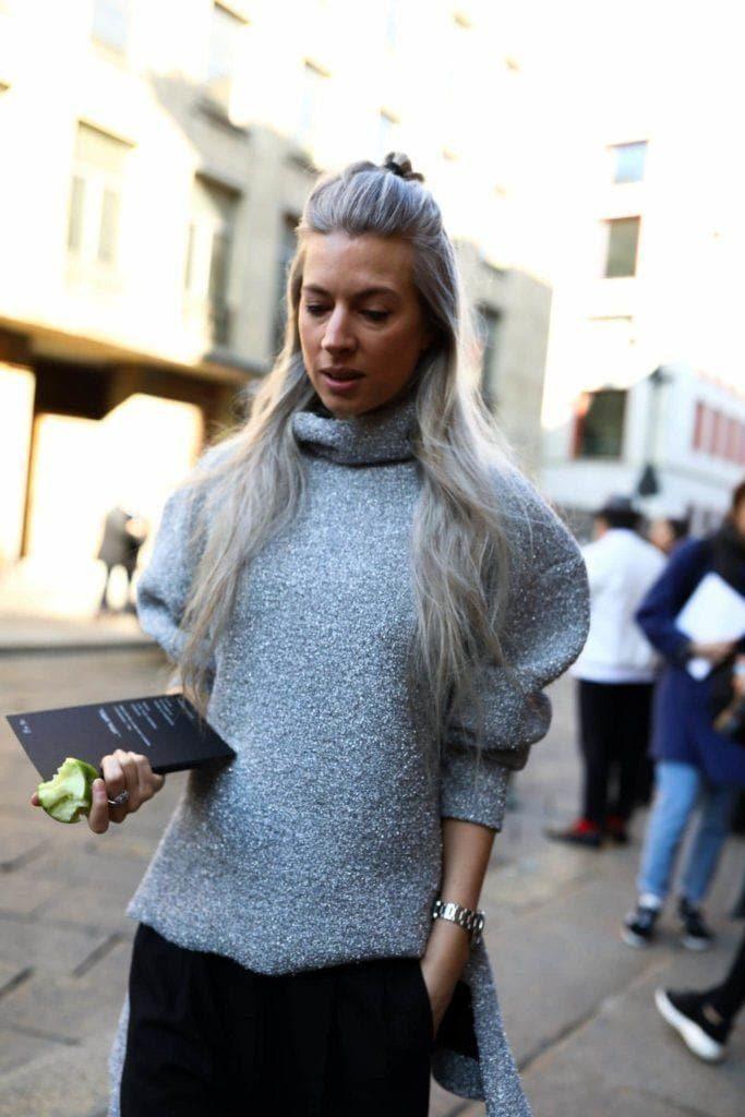 half up half down gray hair