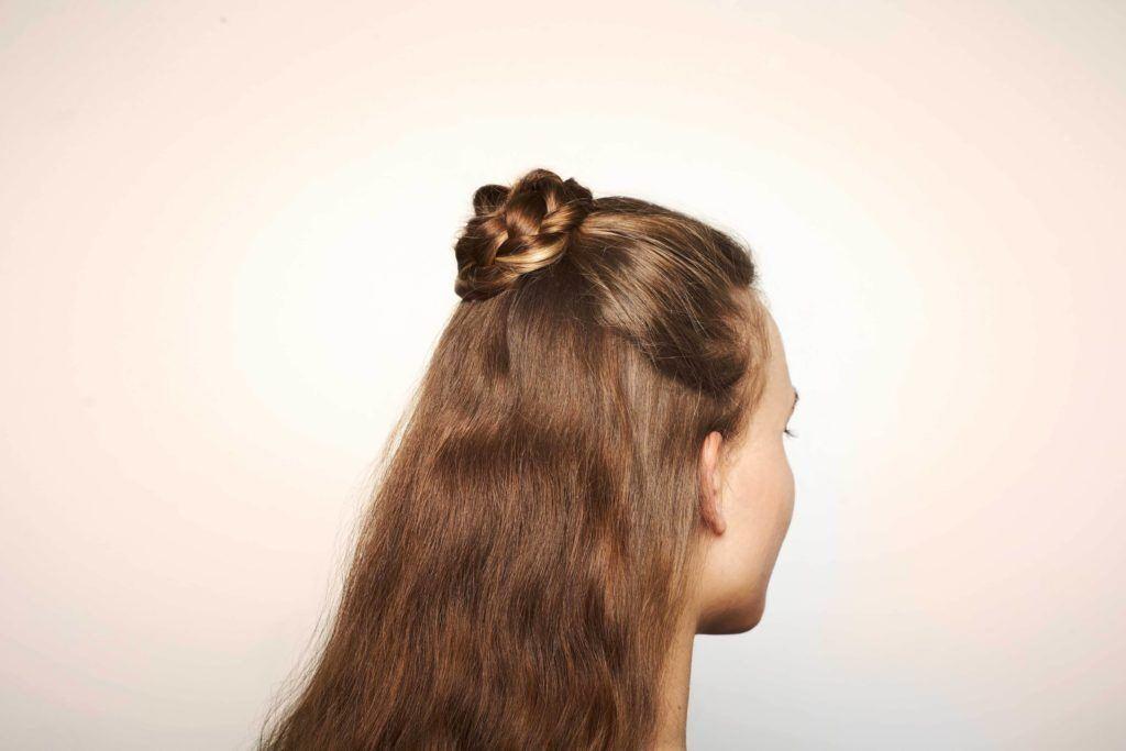 half up half down bun loose braid