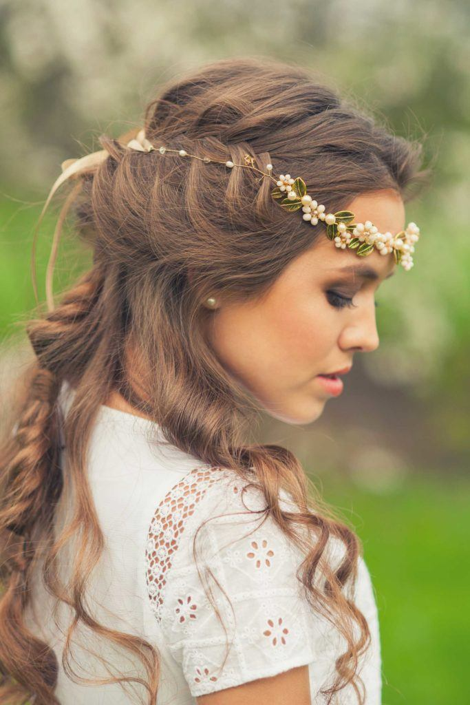 loose crown braid half up half down wedding hairstyles