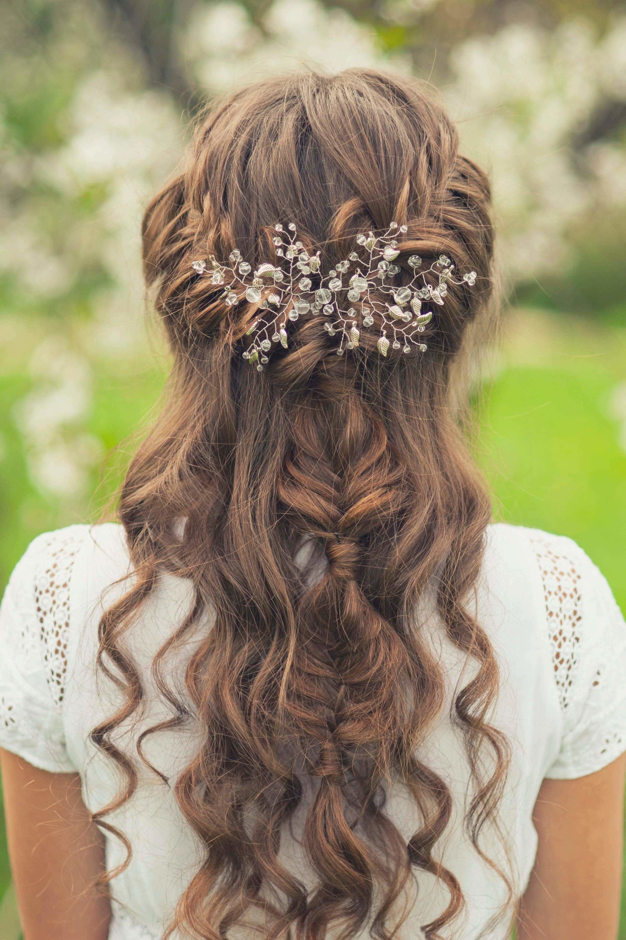 fishtail with sprigs half up half down wedding hairstyles