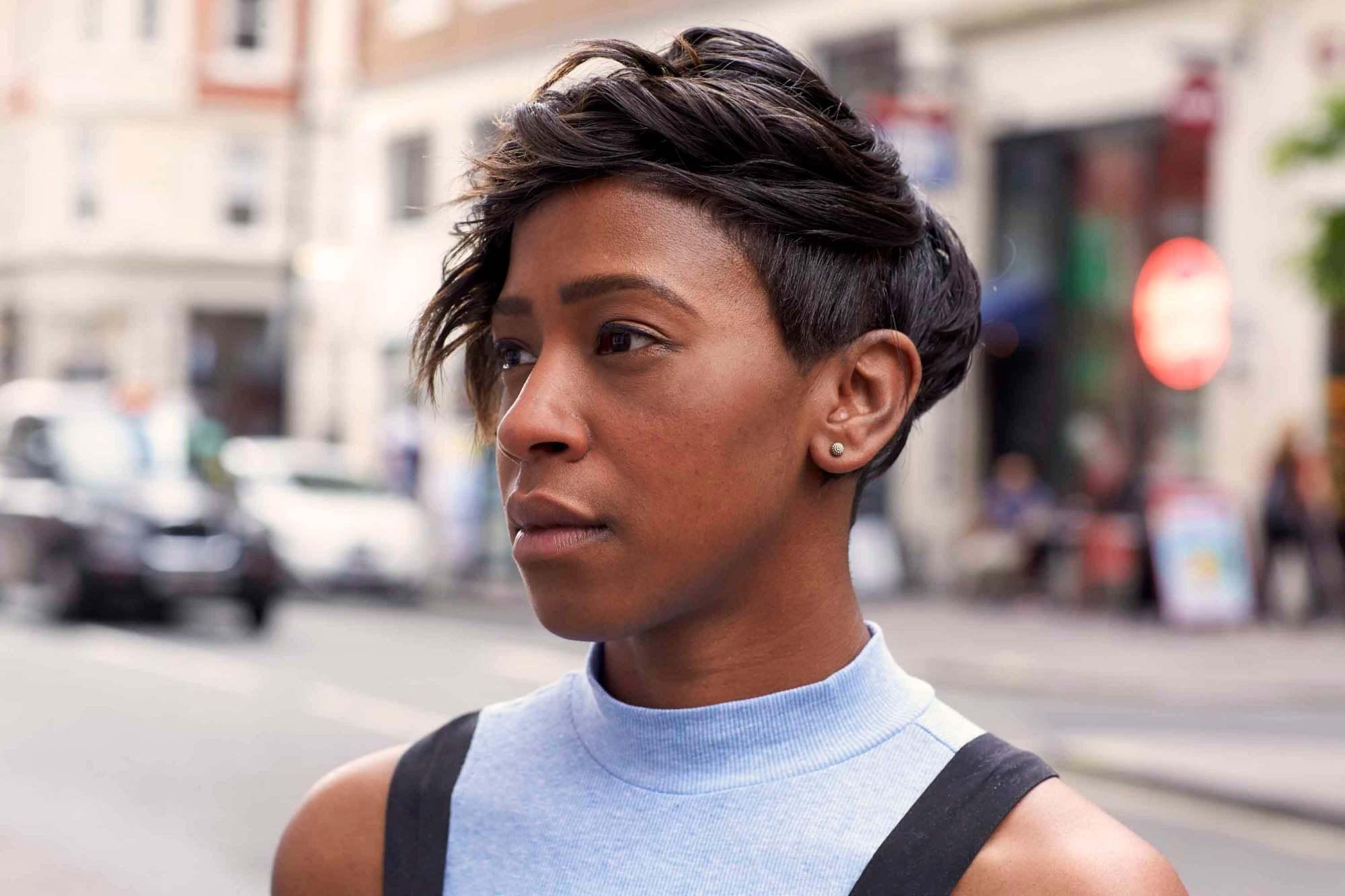 asymmetrical waves pixie cut black hair 2