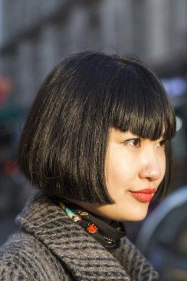 pointed bangs: bob hairstyle
