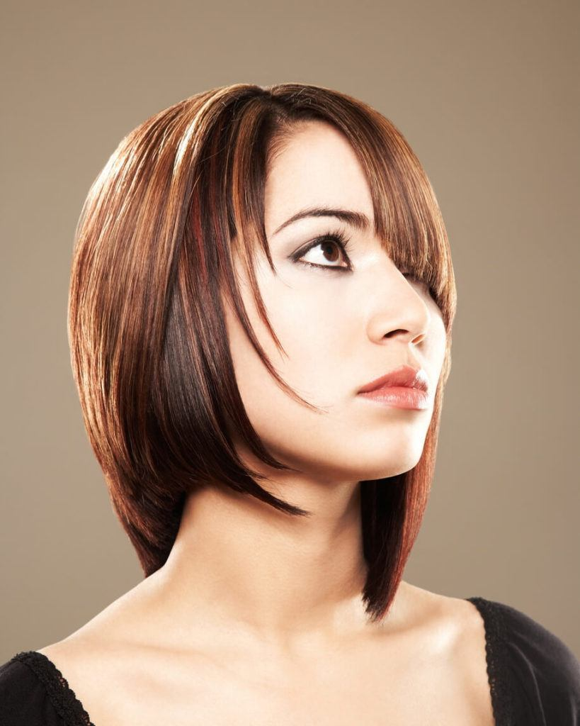 pointed bangs: deep side part