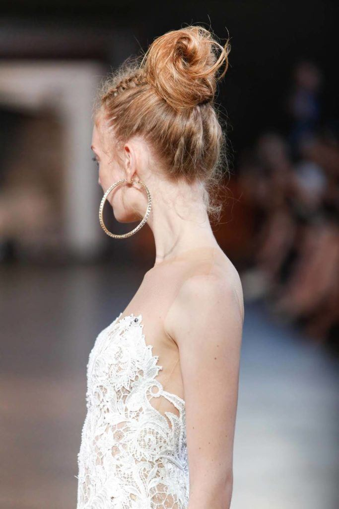 top knot with unicorn braid wedding updos for long hair