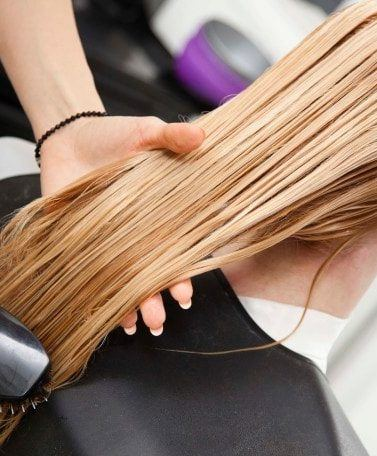 chemically straighten blonde hair tips