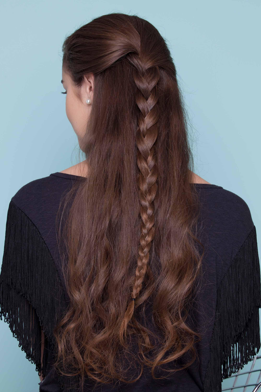 easy braids for long hair regular three-strand half-updo