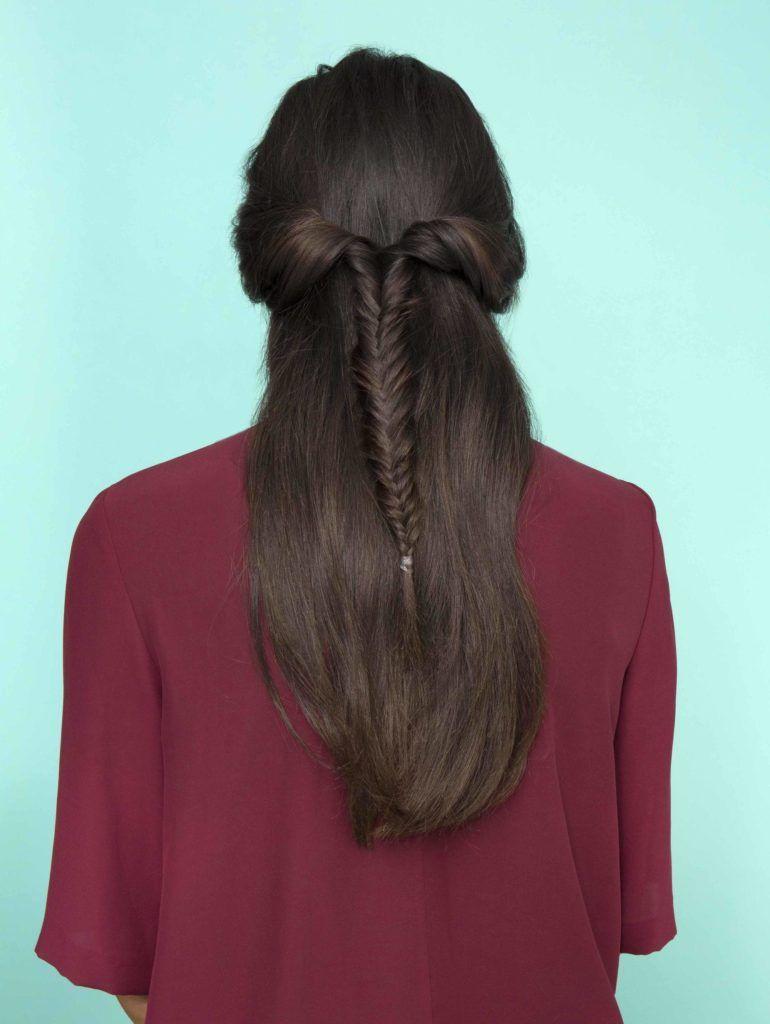 easy braids for long hair inverted fishtail