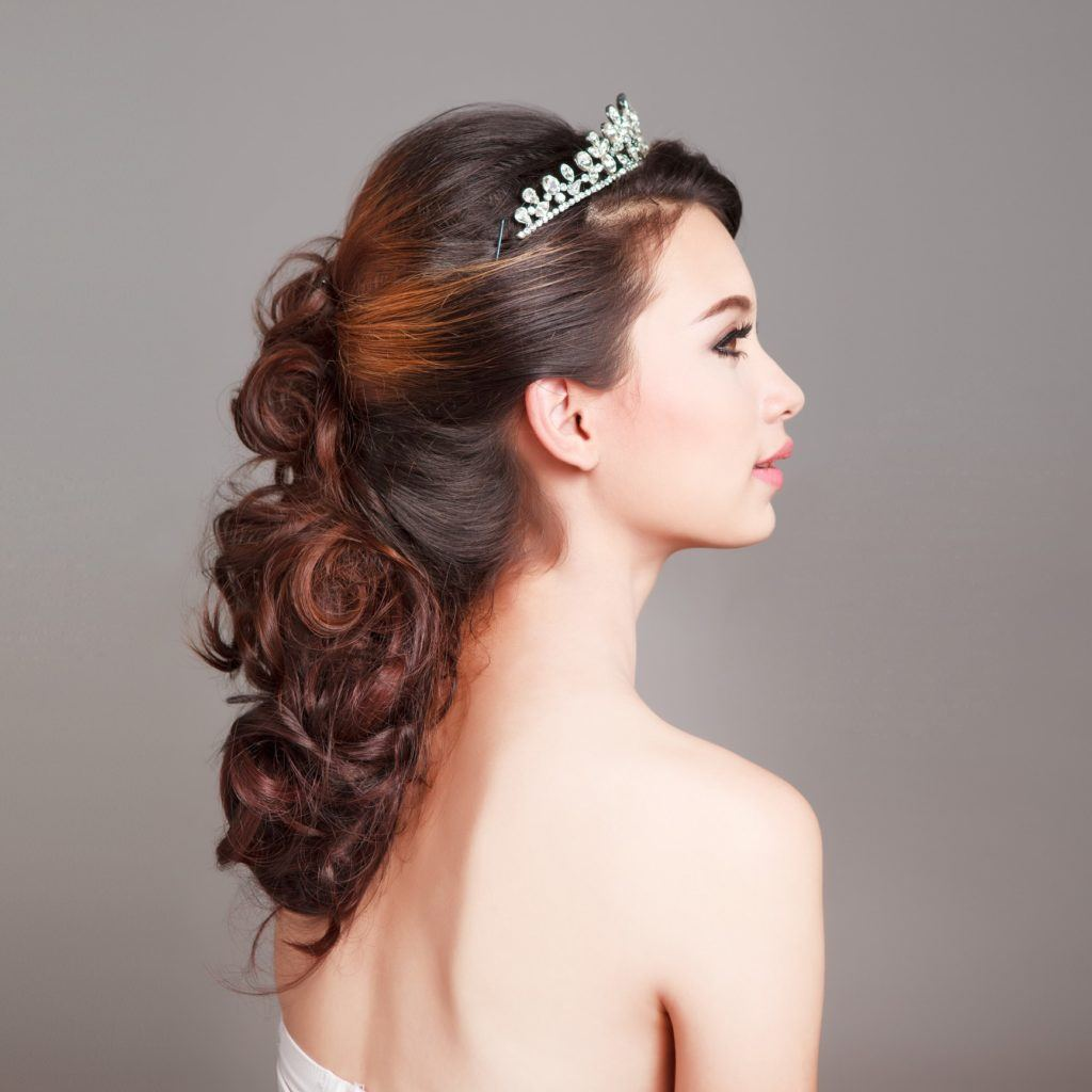 flower girl hairstyles tiara curled updo