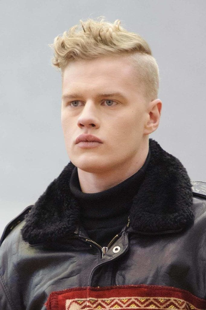 wavy fade shaved sides hairstyles mens