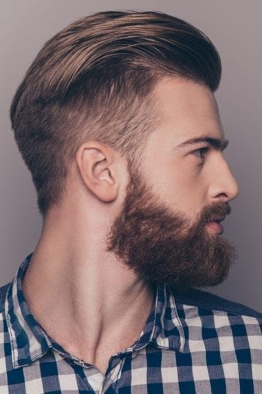 brushed back shaved sides hairstyles mens