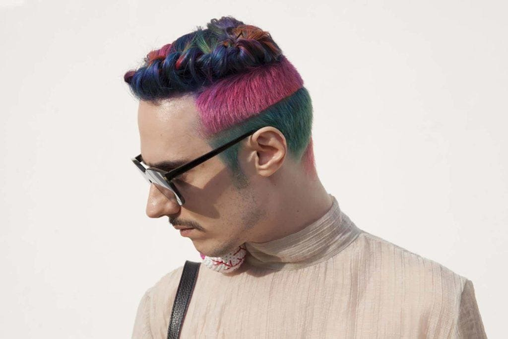 rainbow shaved sides hairstyles mens