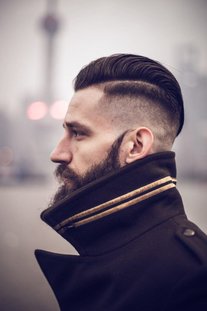 Hard Parted Slicked Shaved Sides Hairstyles Mens