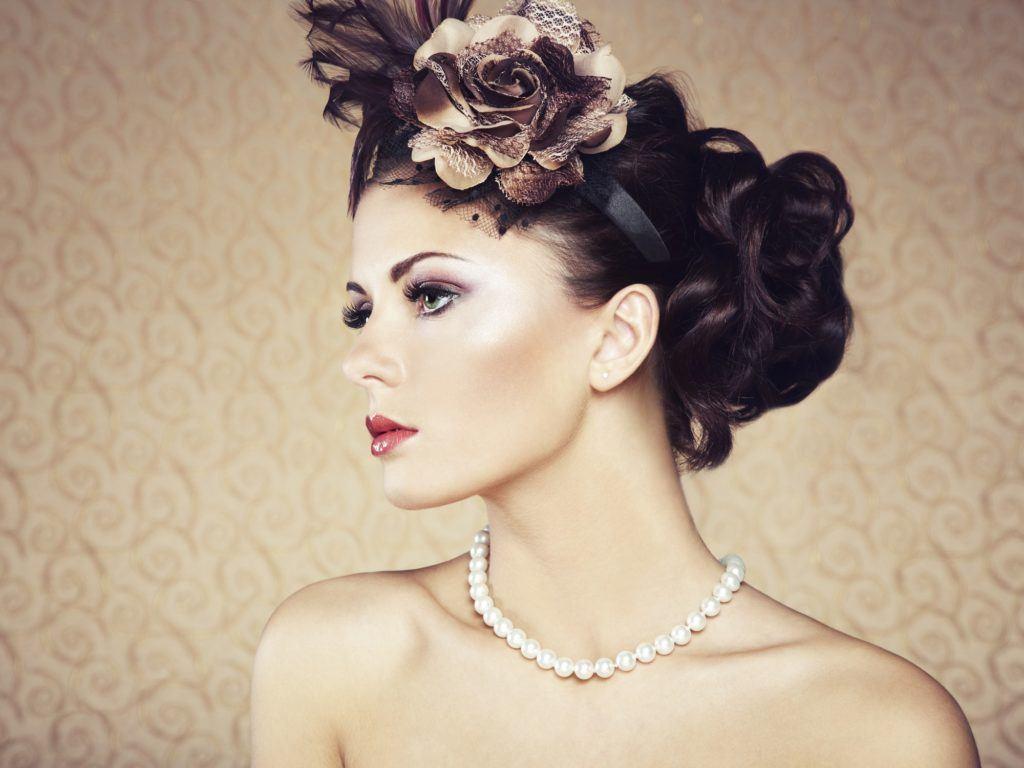 victorian hairstyles flower headband bun