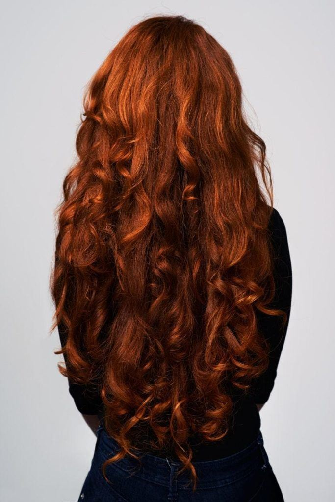 extra long curls cinnamon hair color