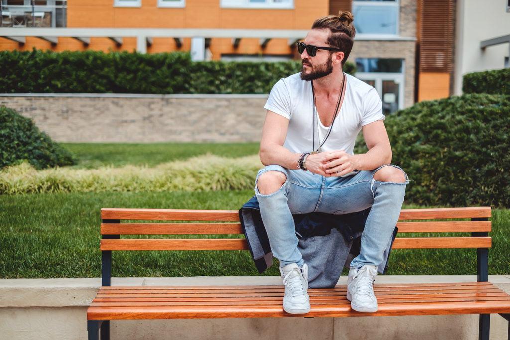 easy hairstyles for guys: short undercut man bun