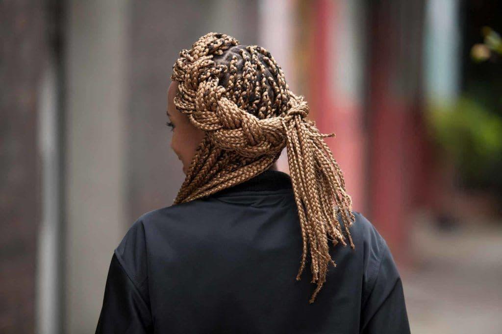 halo braid with box braids: back view