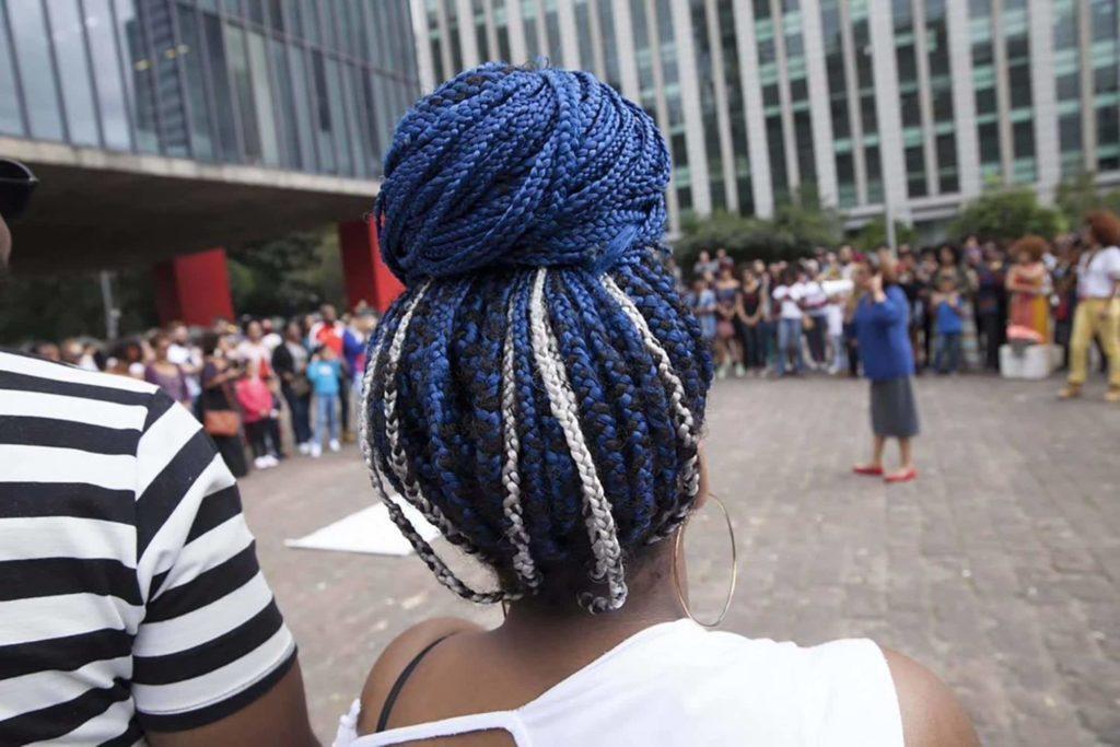 long box braids large top knot bun