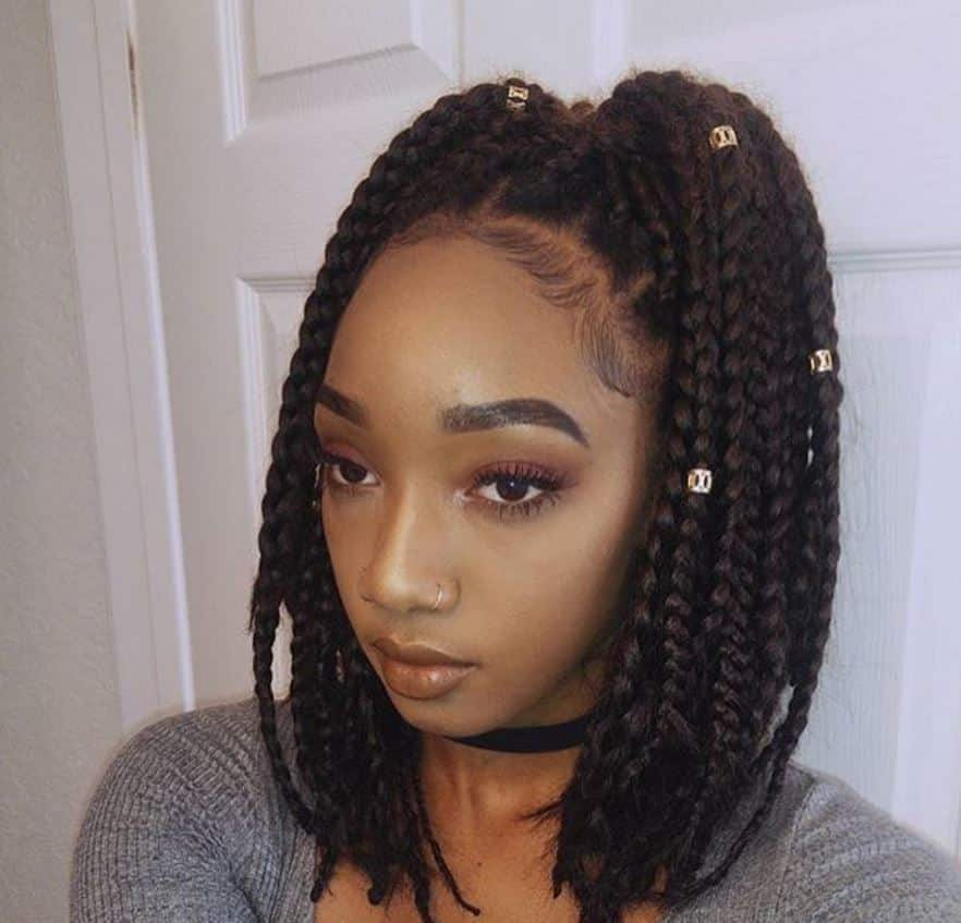 beaded pigtails long box braids