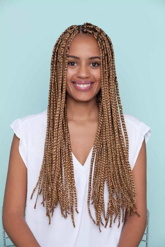 long box braids middle part