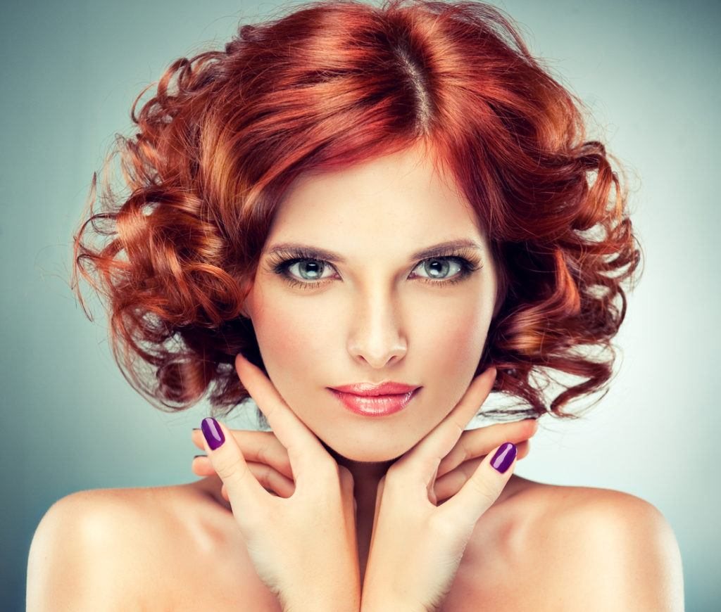mahogany hair color tight curls