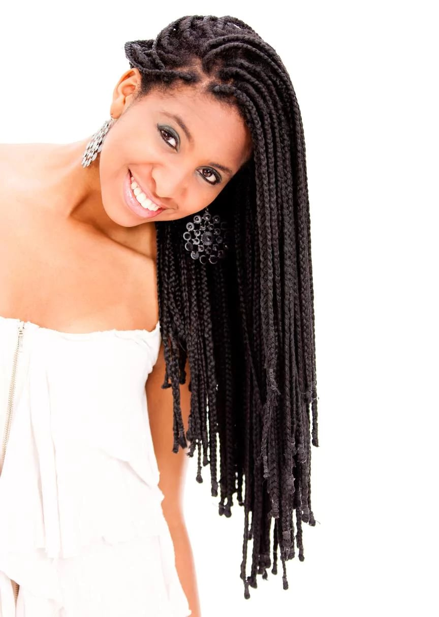 natural braided hair long braids