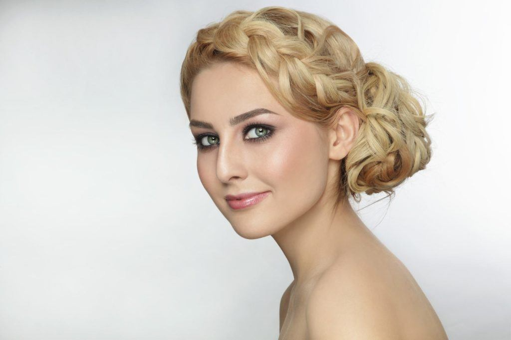 curly braided bun side part hairstyles