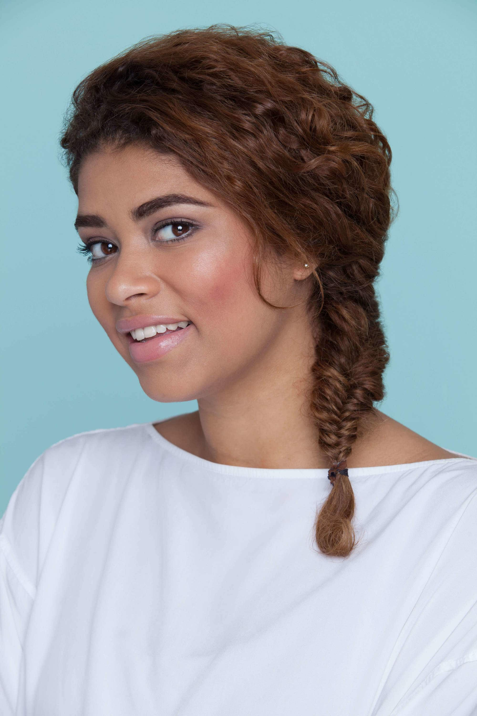 fishtail braid with curls half up half down short hair ... |Side Fishtail Braid With Curls
