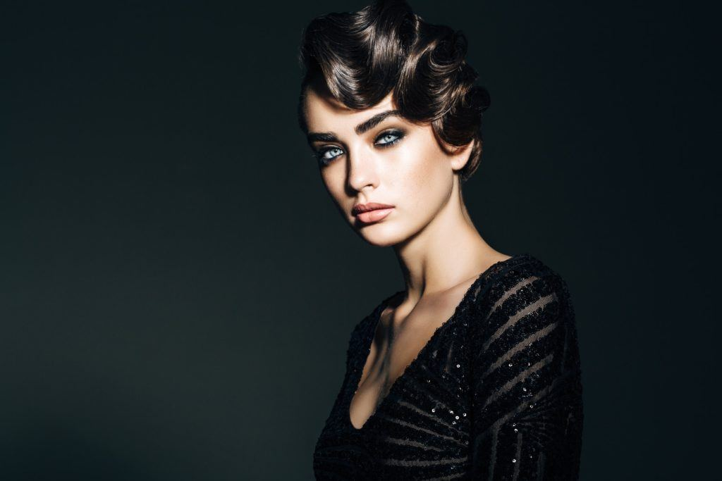 vintage hairstyles for curly hair pinned updo