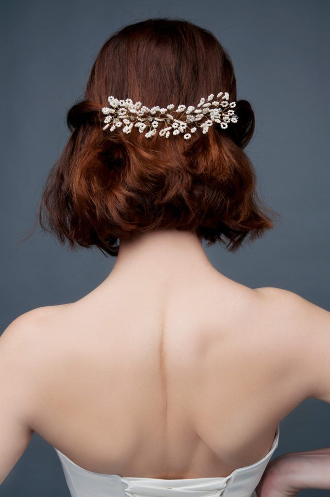 wedding updos for short hair half up beaded pin