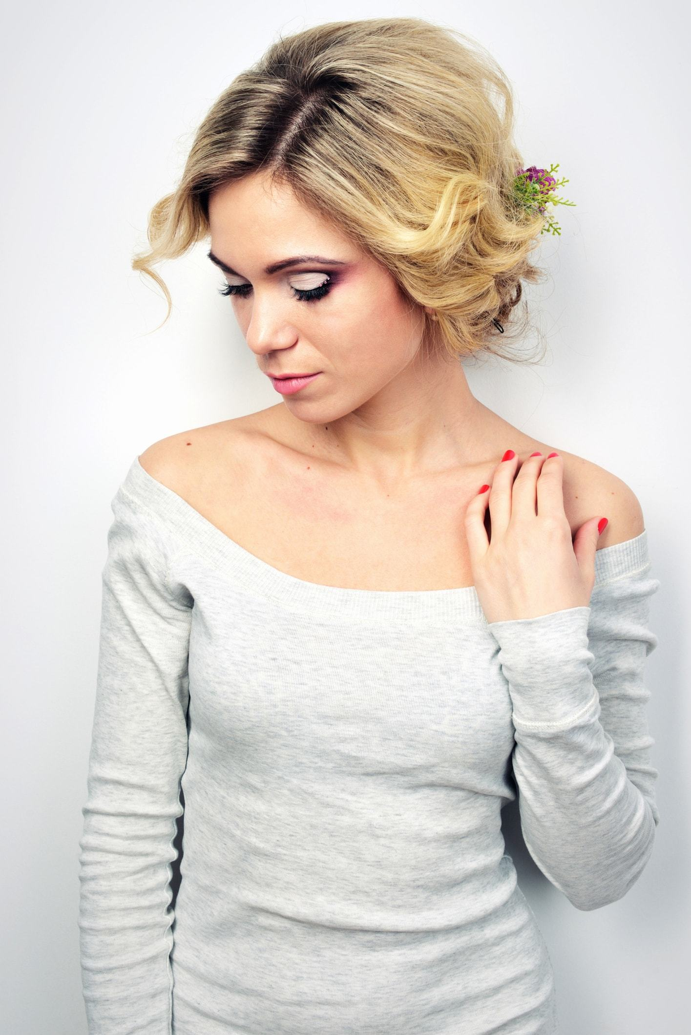 wedding updos for short hair side part low floral updo