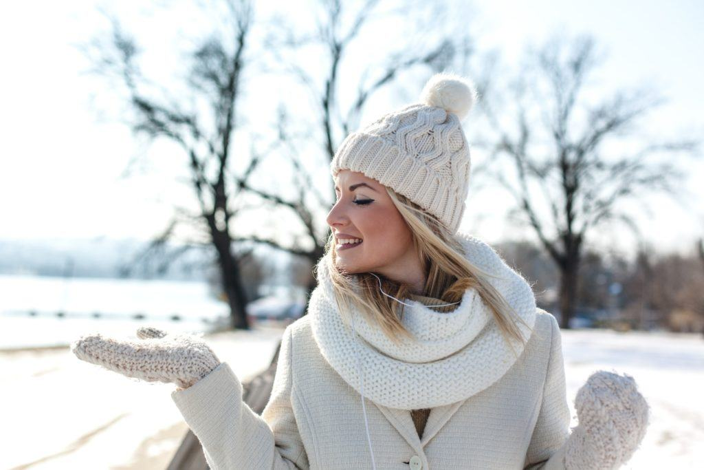 white blonde hair winter hat