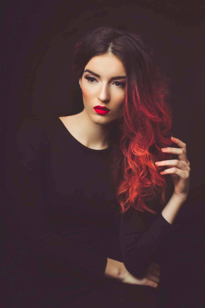 two tone hair red tones