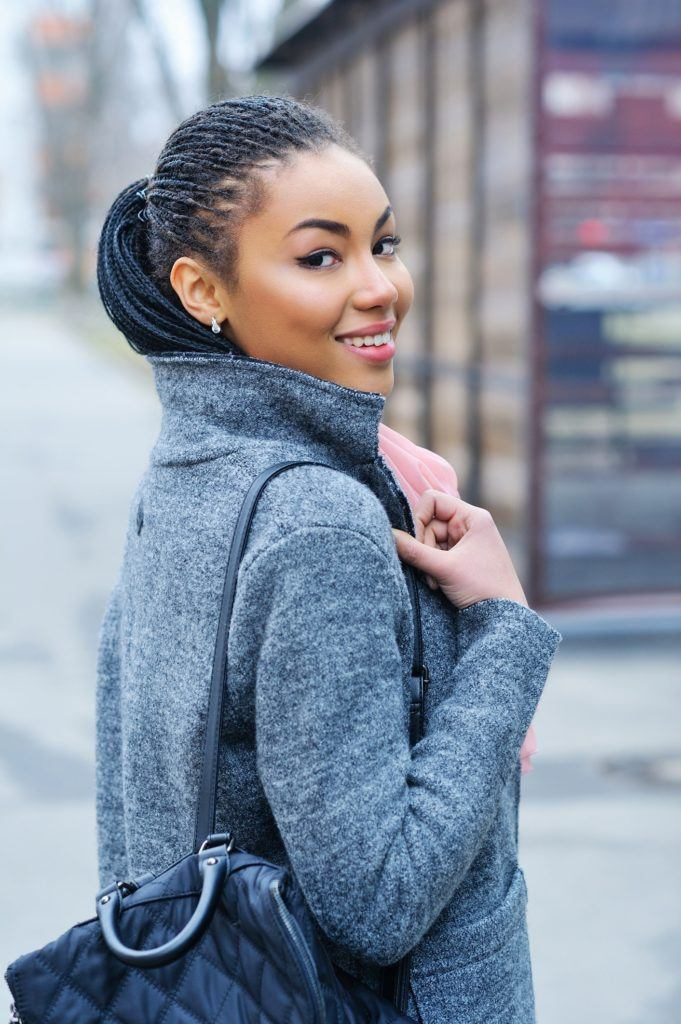 bob box braids mid level ponytail