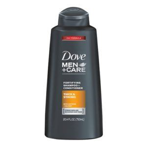 dove men care fortifying shampoo and conditioner for thick and strong front view