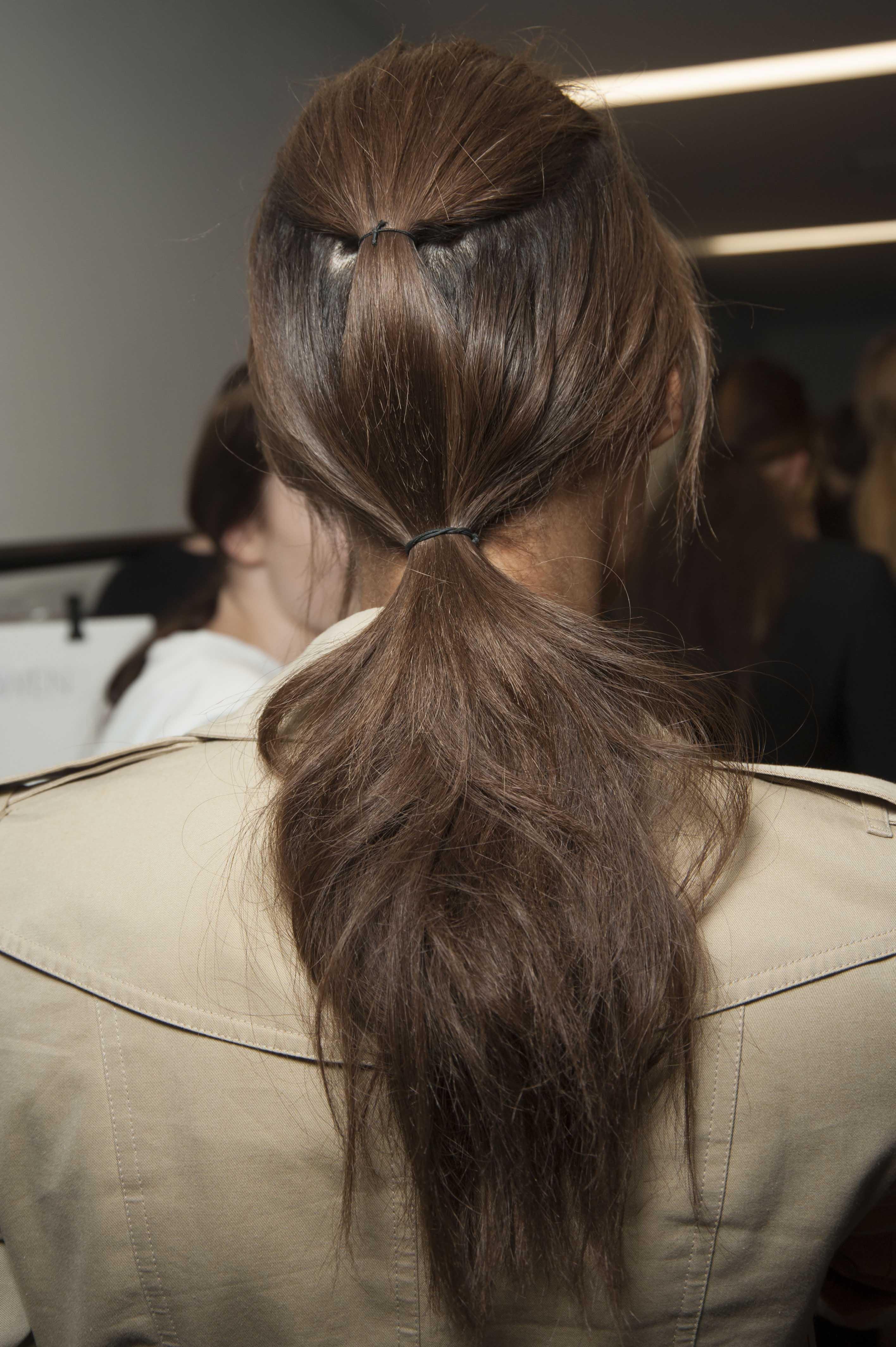 medium brown hair double ponytail