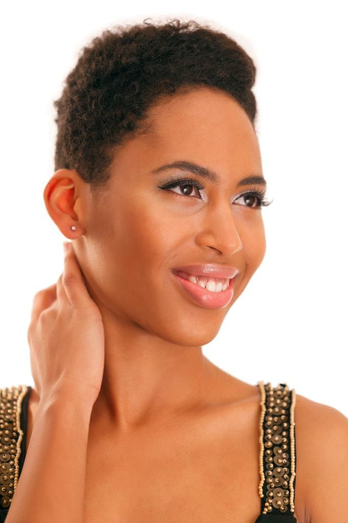 short curly hairstyles for black women: brushed back pixie