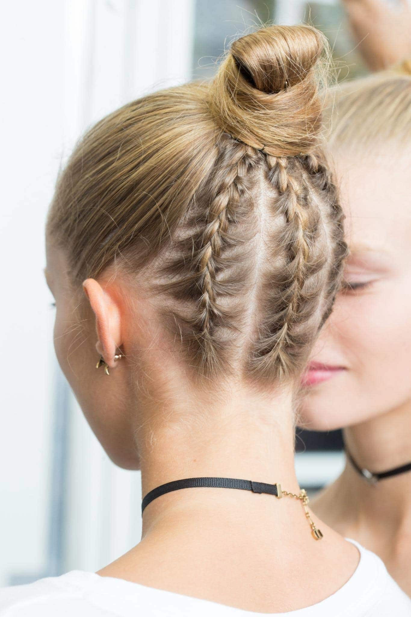 under braid hairstyles triple braid and top knot