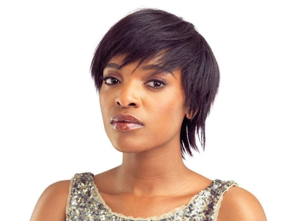 black hairstyles with bangs: wispy